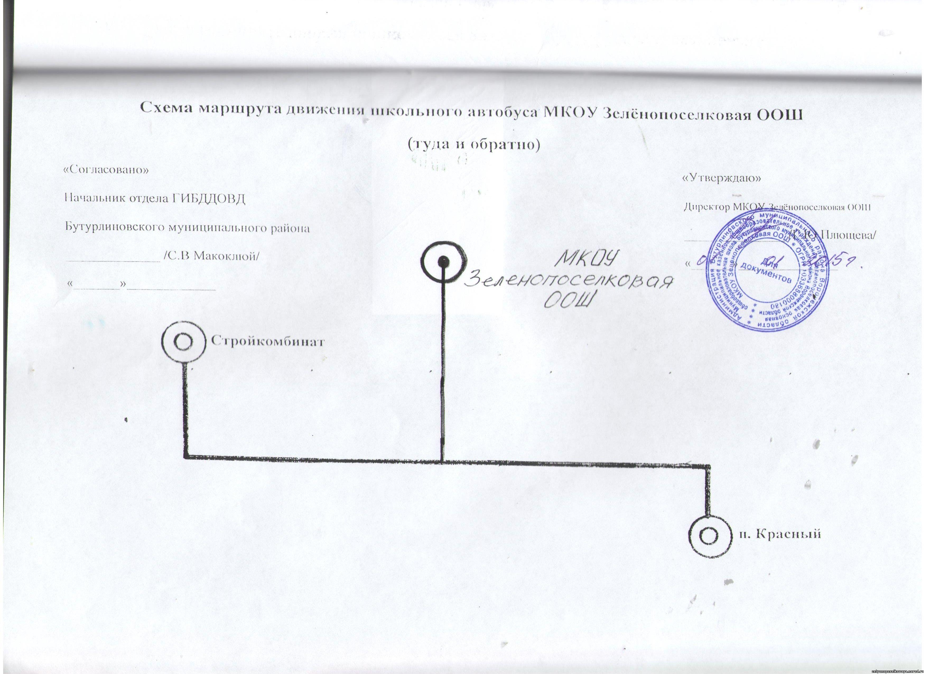 Схема движения школьного маршрута